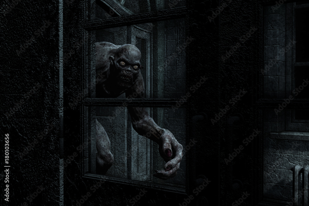 Fototapety, obrazy: 3d illustration of monster creature in haunted house