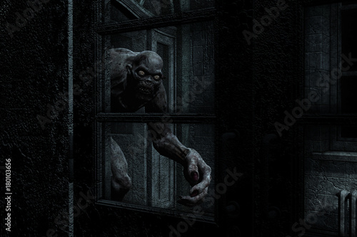 3d illustration of monster creature in haunted house Fototapeta