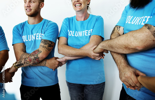 Fotografie, Obraz  Happy volunteers united together