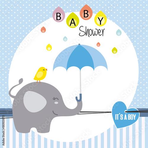 Photo  baby shower boy. elephant and bird with umbrella