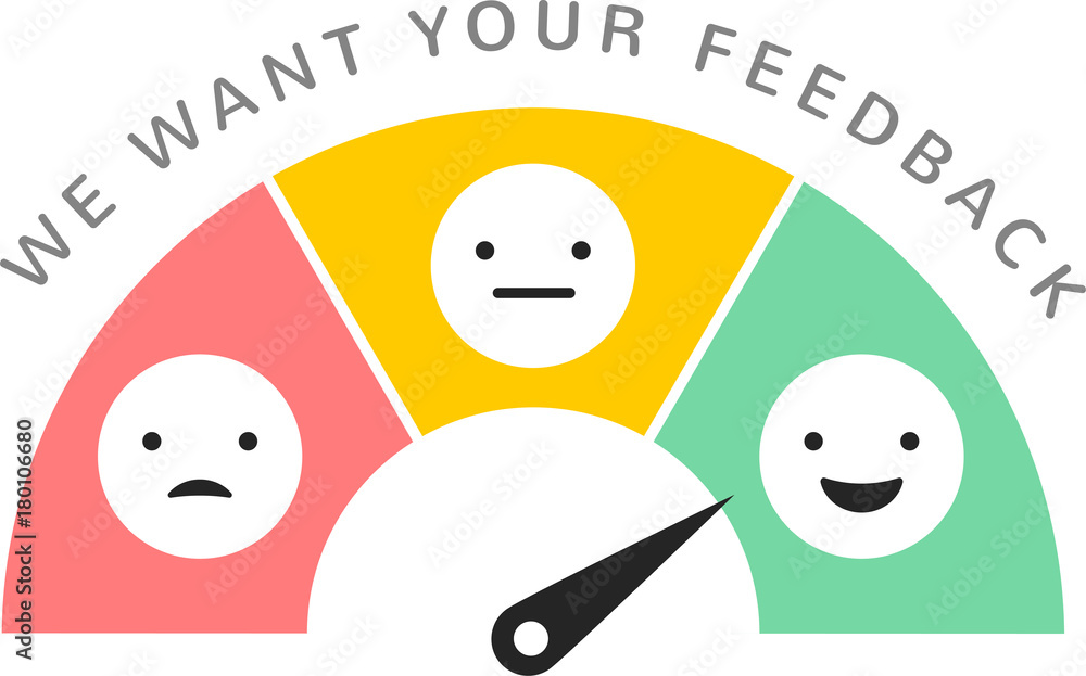 Fototapeta Feedback concept design, emoticon, emoji and smile, emotions scale