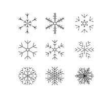 Snowflake Winter Set Of Black Isolated Nine Icon Silhouette On White Background.