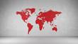 Rote Weltkarte an Wand aus Beton