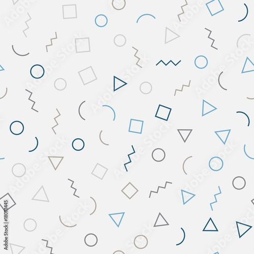 Memphis seamless geometric pattern with gray background with different shapes. Vector repeating texture.