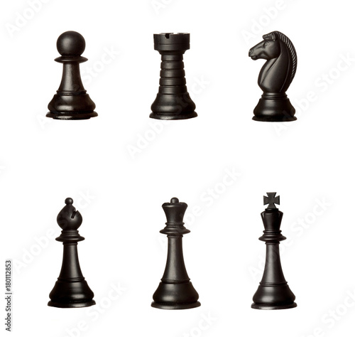 Obraz na plátně  Black chessmen Isolated on White