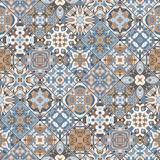 Set of seamless abstract patterns. Colorful tiles background in oriental style. Vector illustration. - 180113255