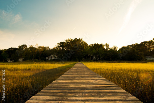 Canvas-taulu wooden pier in south carolina low country marsh at sunset with green grass