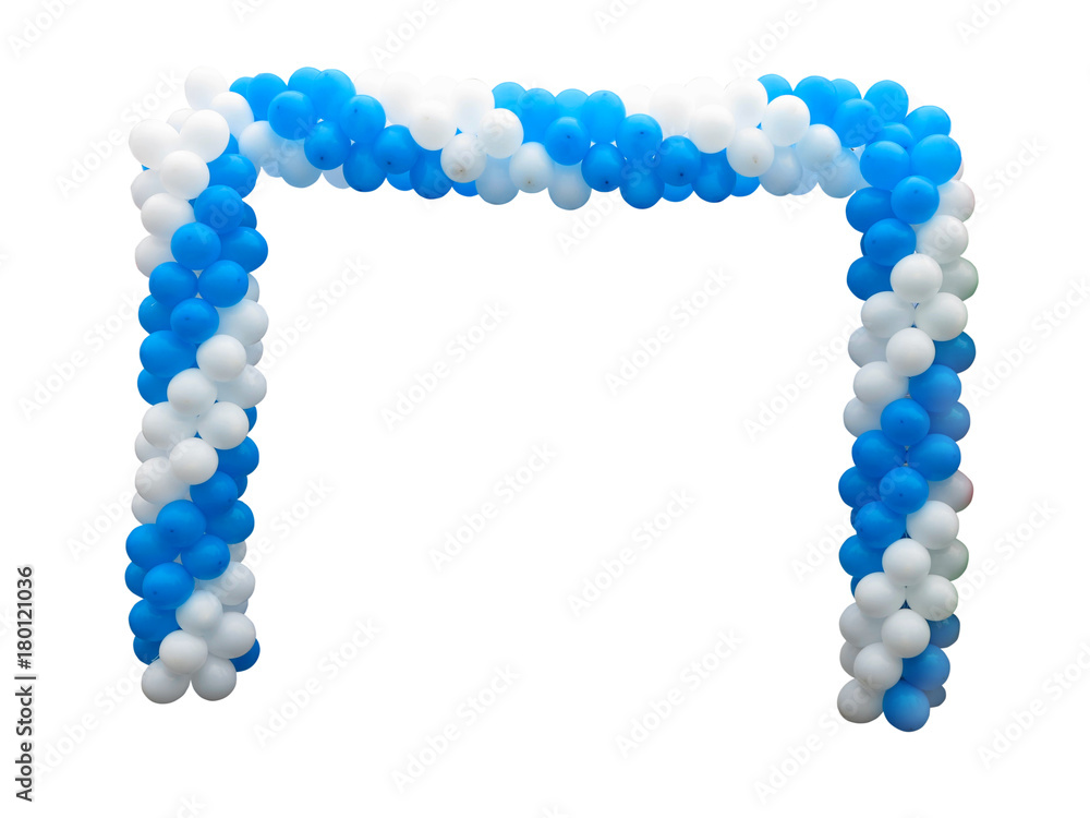 Fototapety, obrazy: Colorful arch of white and blue balloons isolated over background