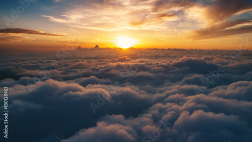Cloud scape above carpathian mountains shot at sunset