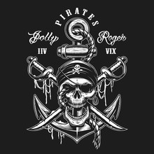Pirate Skull Emblem With Swords, Anchor And Rope. On Dark Background