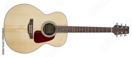 Fotografie, Tablou Acoustic guitar isolated on white background