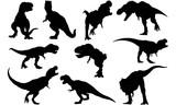 Fototapeta Dino - Tyrannosaurus Silhouette Vector Graphics