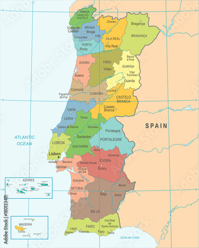 Photo Portugal Map - Detailed Vector Illustration