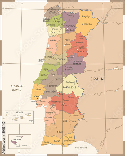 Portugal Map - Vintage Detailed Vector Illustration Canvas Print