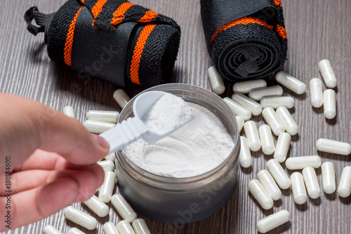 Sports supplements for bodybuilding. Protein, bcaa, capsules Fototapeta