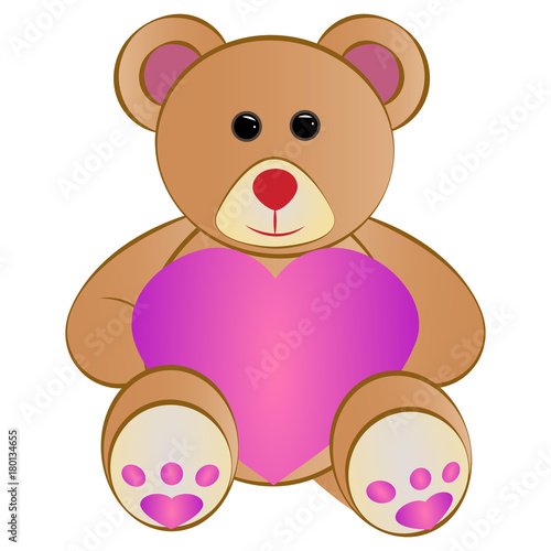 Cute teddy bear with a heart, Vector illustration #180134655