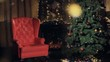 Christmas background. Christmas Tree near fireplace with place for your text.