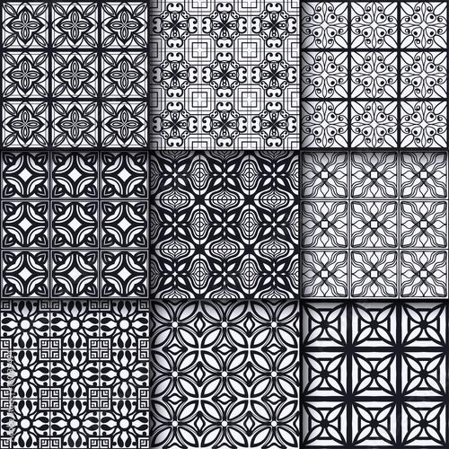 Fototapeta Collection of black and white ornamental seamless patterns. Template for design. Vector obraz na płótnie
