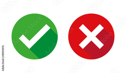 Fotografía  Check box list icons set, green and red isolated on white background, vector illustration