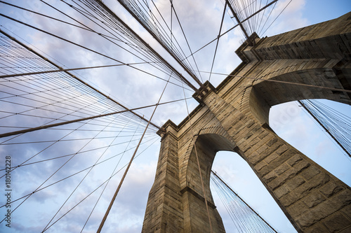 Fotografie, Tablou Brooklyn Bridge New York City close up architectural detail