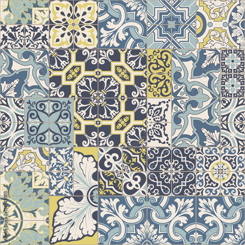 Azulejos tiles patchwork vector seamless pattern Fototapete