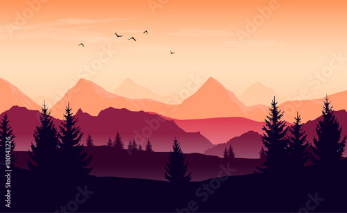 Printed kitchen splashbacks Beige Landscape with orange and purple silhouettes of mountains, hills and forest