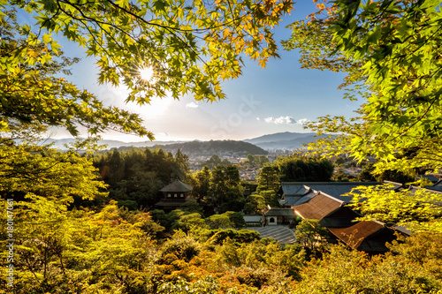 Kyoto temples in autumn with temples an japanese garden visible Tableau sur Toile