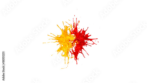 Photo  splash two drops of yellow and red paint