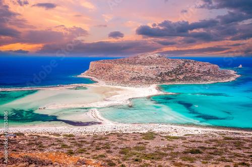 Spoed Fotobehang Zalm Balos beach, Greece island. Sunset over Balos lagoon on Crete.