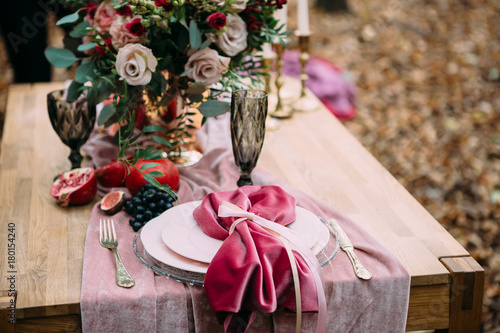 Rustic Wedding Decoration For Festive Table With Beautiful Flower
