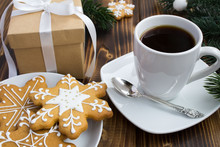 Coffee, Christmas Gift And Coo...