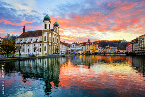 The Old Town of Lucerne, Switzerland, on sunset Wallpaper Mural