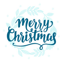 Merry Christmas Vintage Style Label With Hand Lettering