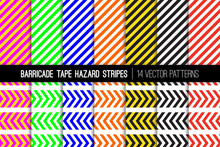 Barricade Tapes And Hazard Stripes Vector Patterns. Standard Brightly Colored Striped Backgrounds For Traffic, Safety, Fire, Radiation, Defective Machinery And Other Hazards. Tile Swatches Included.