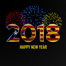 Happy New Year And Merry Christmas. 2018 New Year Background With National Flag Of Catalonia And Fireworks. Vector Illustration.