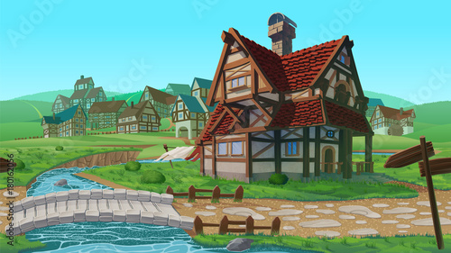 Tuinposter Turkoois A high quality horizontal seamless background - village.