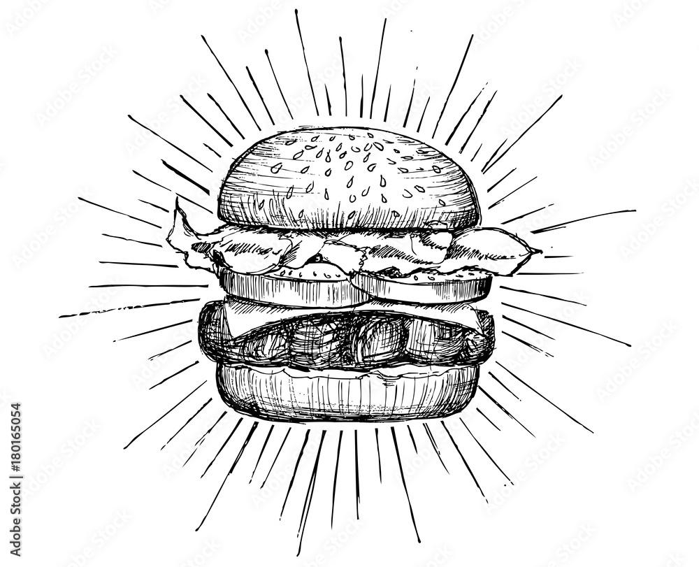 Fototapety, obrazy: Vector vintage burger drawing.