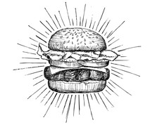 Vector Vintage Burger Drawing.