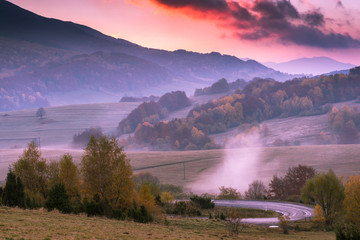 Sunset in Bieszczady Carpathian Mountains in Poland at autumn