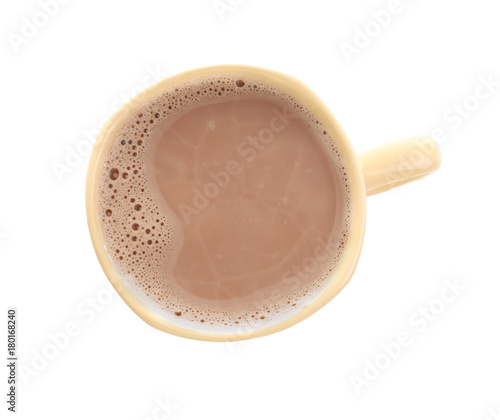 Keuken foto achterwand Chocolade Cup with delicious cocoa drink on white background