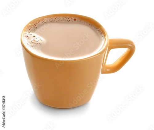 Cup with delicious cocoa drink on white background