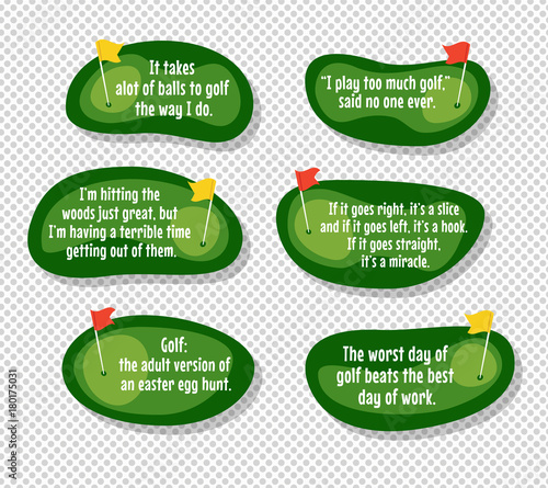 Set of funny quotes about golf with cartoon golf course map ... Golf Slice Cartoon on ice golf cartoons, large golf cartoons, drink golf cartoons,