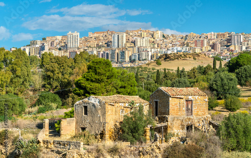 View of Agrigento city from the Kolymbetra Garden in Sicily, Italy Canvas Print