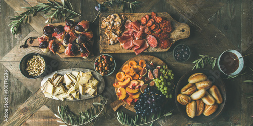Flat-lay of holiday, party, family dinner table set with wine snacks Canvas Print