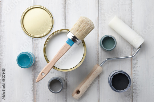 Paint brush, sponge roller, paints, waxes and other painting or ...