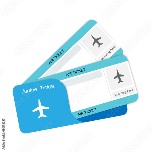 Modern airline travel boarding pass two tickets. Canvas Print