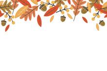 Mod Fall Leaves Repeating Horizontal Vector Illustration 1
