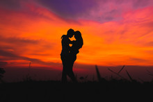 Silhouette Of Romantic Couple ...