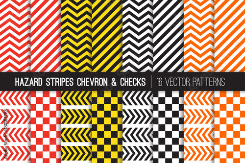Hazard Stripes, Chevron and Checkerboard Vector Patterns Wallpaper Mural