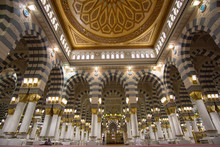 The Interior Design Of Prophet Muhammad Mosque In Medina. Al-Masjid An-Nabawi (Prophet's Mosque) Is A Mosque Established And Originally Built By The Prophet Muhammad PBUH, In Medina, Saudi Arabia.